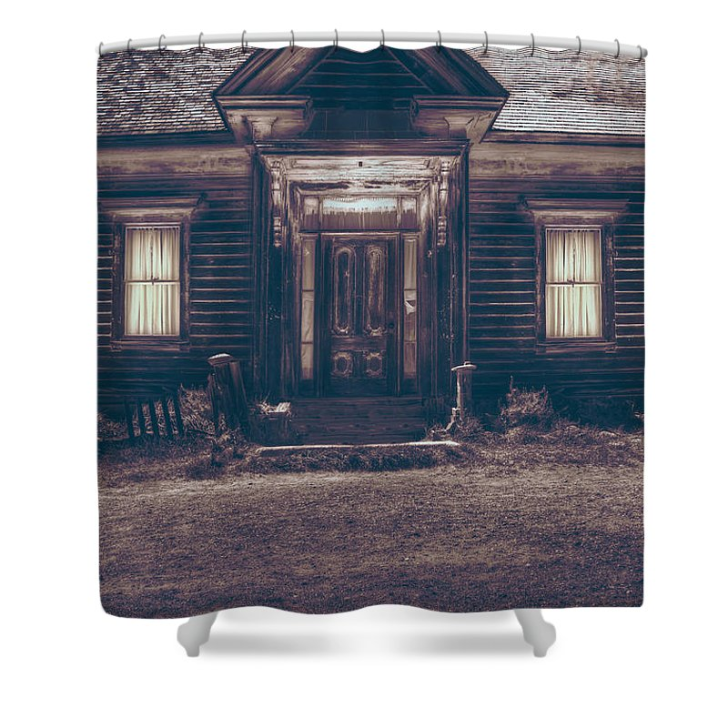 House; Home; Porch; Outside; Outdoors; Wood; Wooden; Cabin; Windows; Closed; Drapes; Curtains; Old; Worn; Dirty; Grunge; Dirt; Fence; Night; Nighttime; Lit; Lights; Eerie; Scary; Foreboding Shower Curtain featuring the photograph Is Someone Home by Margie Hurwich