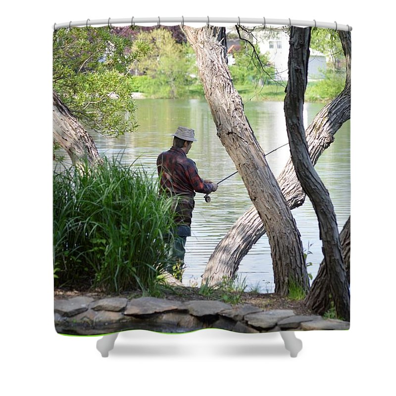 Sculpture Art Shower Curtain featuring the photograph Is The Fisherman Real? by Sonali Gangane