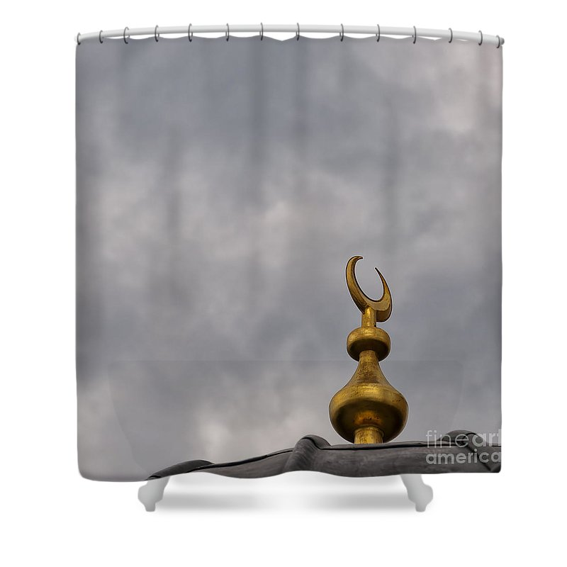 Moody Shower Curtain featuring the photograph Islam Moon by Antony McAulay