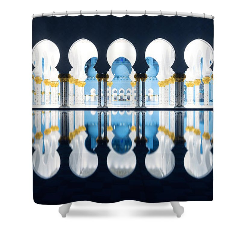 Mosque Shower Curtain featuring the photograph Islamic Architecture Of Abu Dhabi Grand Mosque - Uae by Matteo Colombo