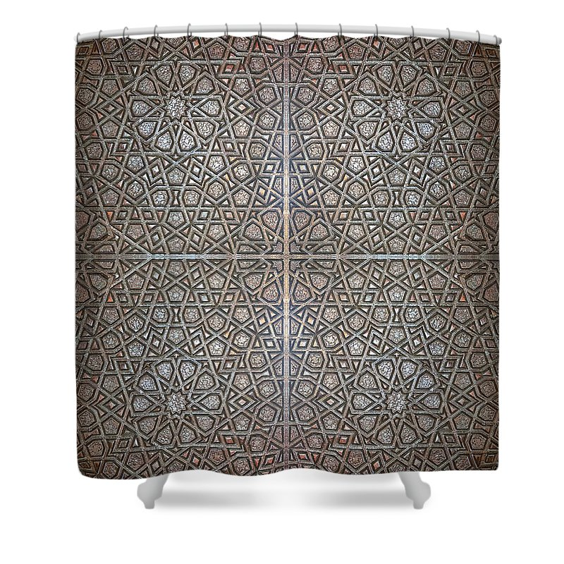 Background Shower Curtain featuring the photograph Islamic Wooden Texture by Antony McAulay