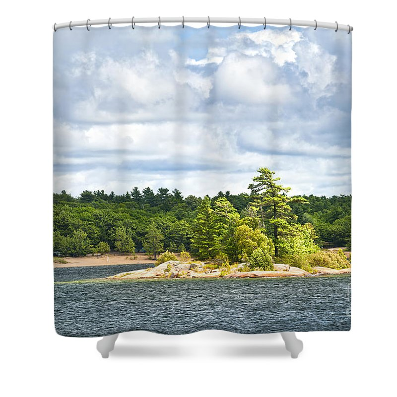 Island Shower Curtain featuring the photograph Island In Georgian Bay by Elena Elisseeva