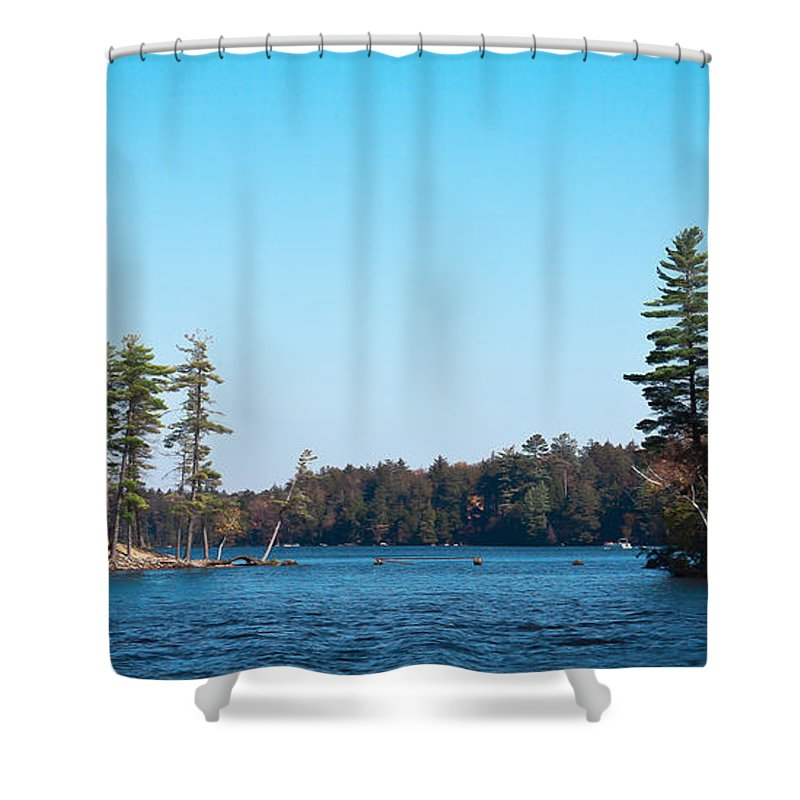 Adirondack's Shower Curtain featuring the photograph Island On The Fulton Chain Of Lakes by David Patterson