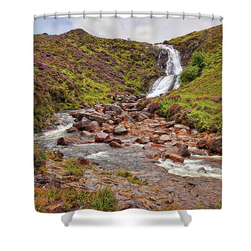 Landscape Shower Curtain featuring the photograph Isle Of Skye Waterfall by Marcia Colelli