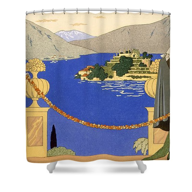 Stencil Shower Curtain featuring the painting Isola Bella by Georges Barbier