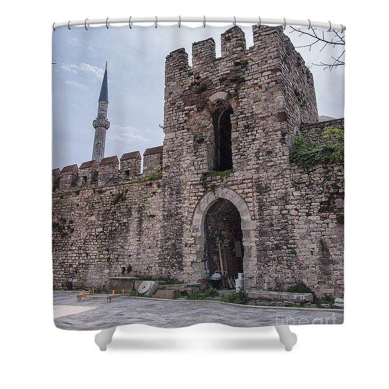 Turkey Shower Curtain featuring the photograph Istanbul City Wall 05 by Antony McAulay