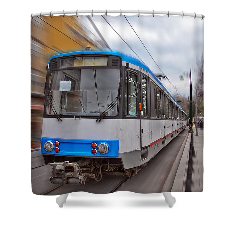 Turkey Shower Curtain featuring the photograph Istanbul Tram In Motion by Antony McAulay