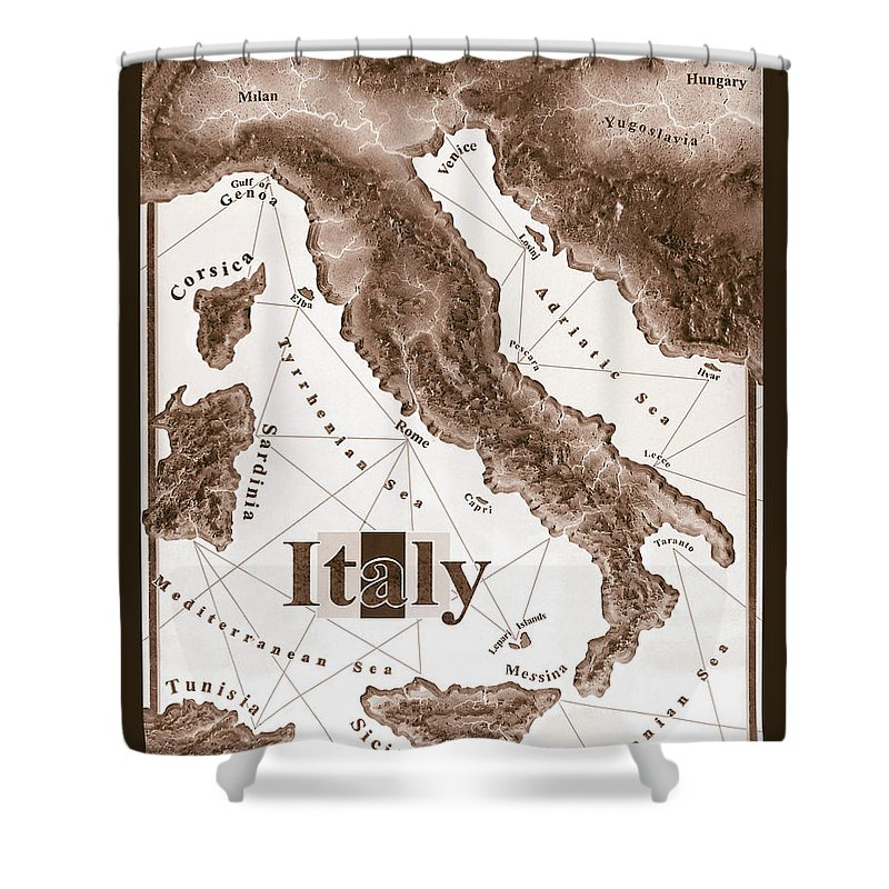 Italian Shower Curtain featuring the mixed media Italian Map by Curtiss Shaffer
