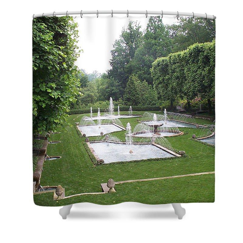 Fountain Shower Curtain featuring the photograph Italian Water Garden by Barbara McDevitt