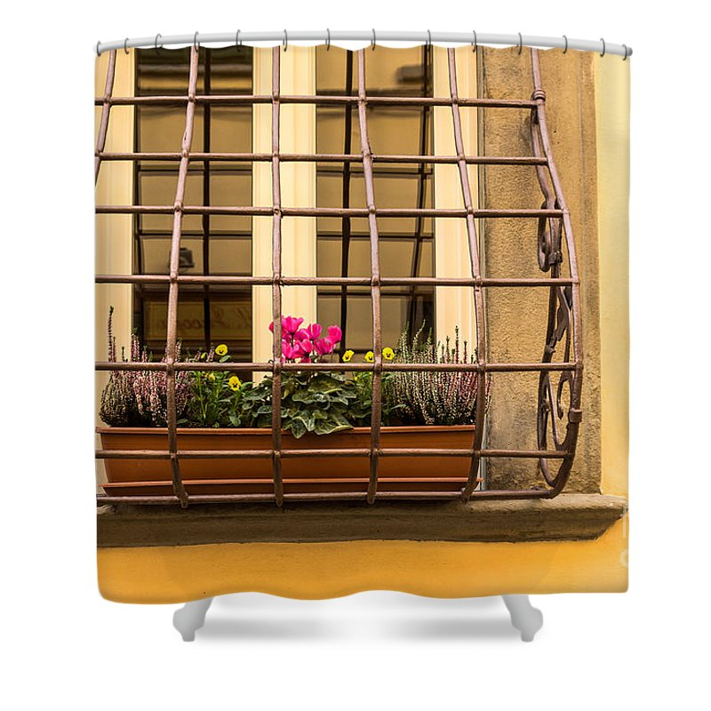 Italian Window Box Shower Curtain featuring the photograph Italian Window Box by Prints of Italy