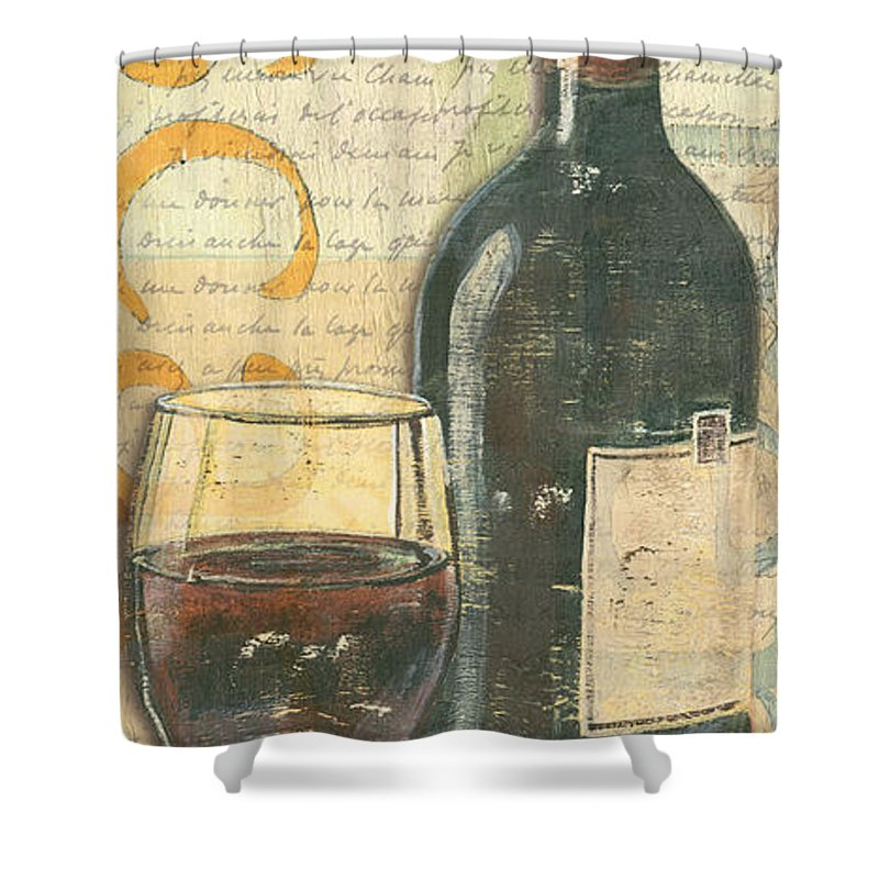 Wine Shower Curtain featuring the painting Italian Wine And Grapes by Debbie DeWitt