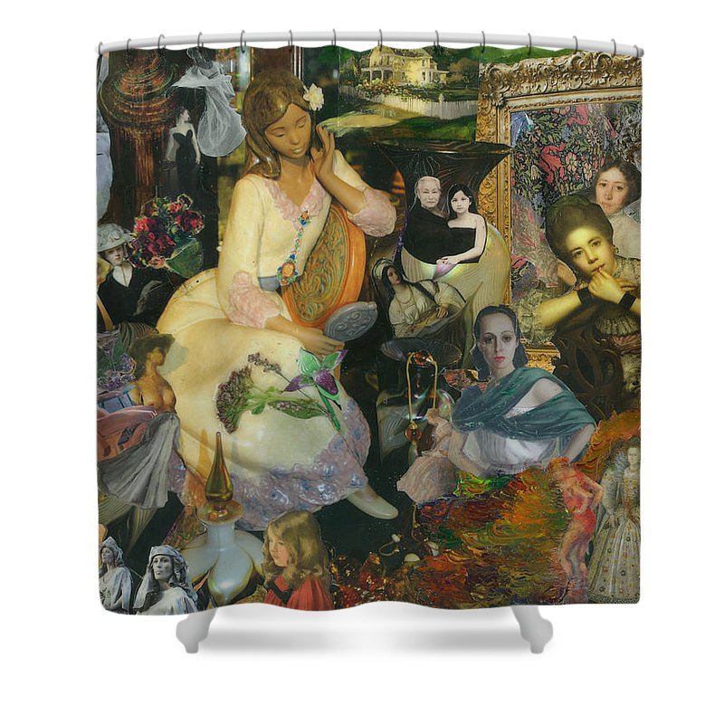 Collage Shower Curtain featuring the mixed media It's All A Facade by Paula Emery