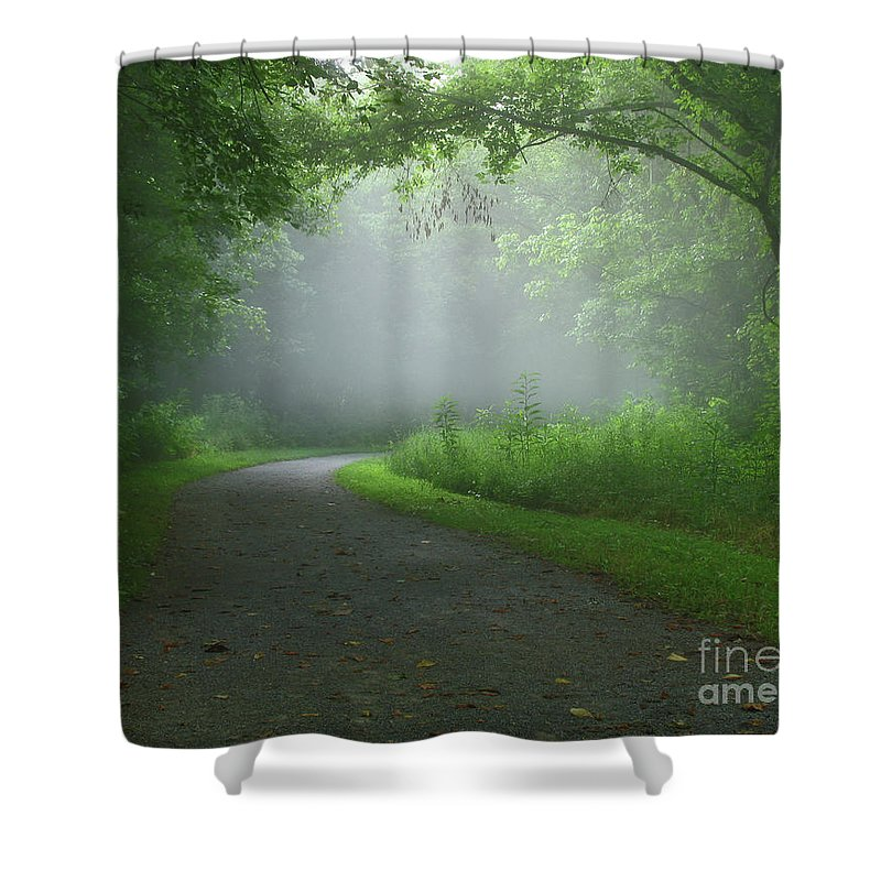 Green Shower Curtain featuring the photograph Mystery Walk by Douglas Stucky