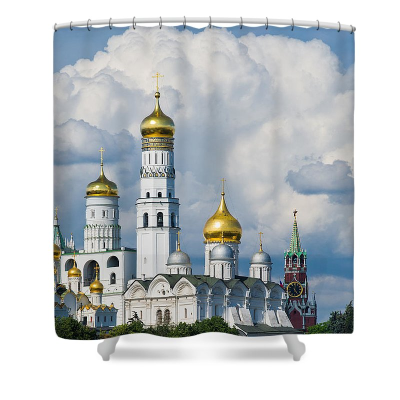 Ancient Shower Curtain featuring the photograph Ivan The Great Bell Tower Of Moscow Kremlin - Featured 3 by Alexander Senin