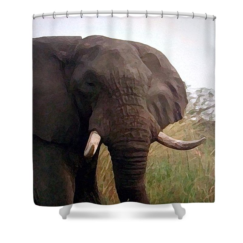Africa Shower Curtain featuring the painting Ivory King by George Pedro