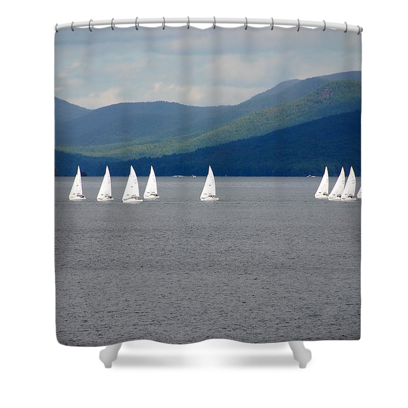 Boats Shower Curtain featuring the photograph J Boats Lake George N Y by John Schneider