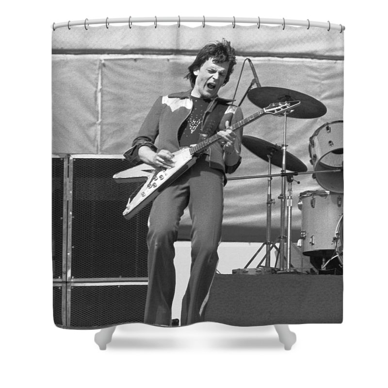 J. Geils Shower Curtain featuring the photograph J. Geils In Oakland 1976 by Ben Upham