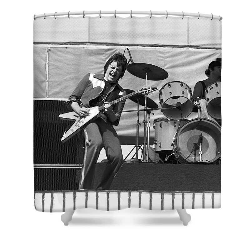 J. Geils Shower Curtain featuring the photograph J. Geils On Stage In Oakland 1976 by Ben Upham