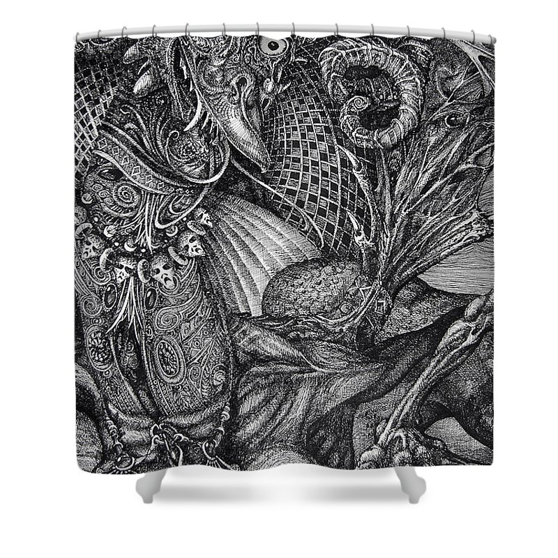 Surrealism Shower Curtain featuring the drawing Jabberwocky by Otto Rapp