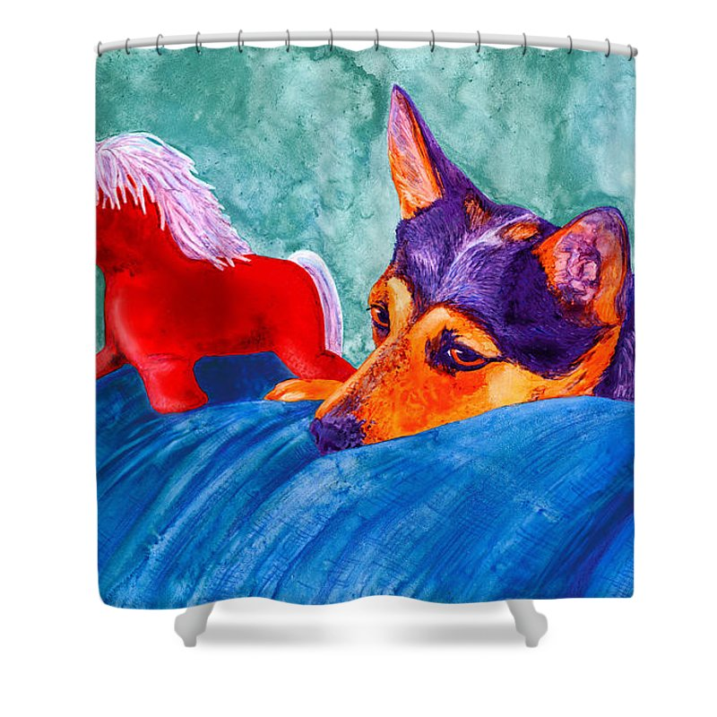 Dog Shower Curtain featuring the painting Jack And Red Horse by Ann Ranlett