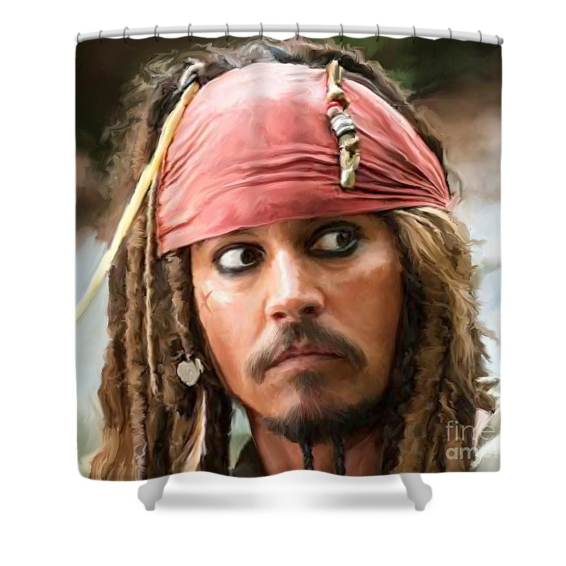 Depp Shower Curtain featuring the painting Jack Sparrow by Paul Tagliamonte