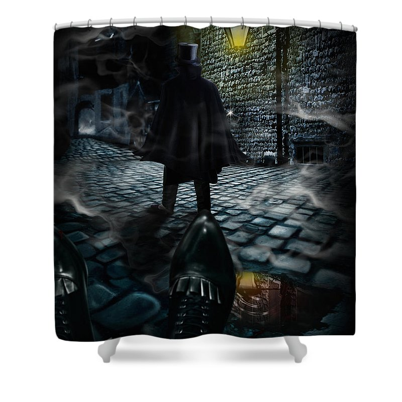 Top Hat Shower Curtain featuring the digital art Jack The Ripper by Alessandro Della Pietra