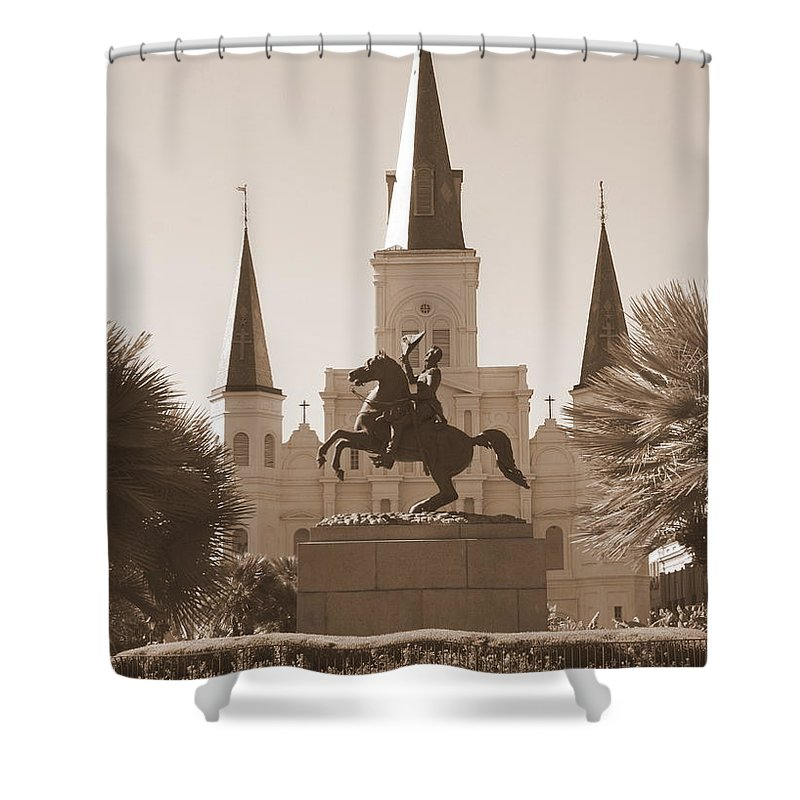 New Orleans Shower Curtain featuring the photograph Jackson Square Statue In Sepia by Carol Groenen