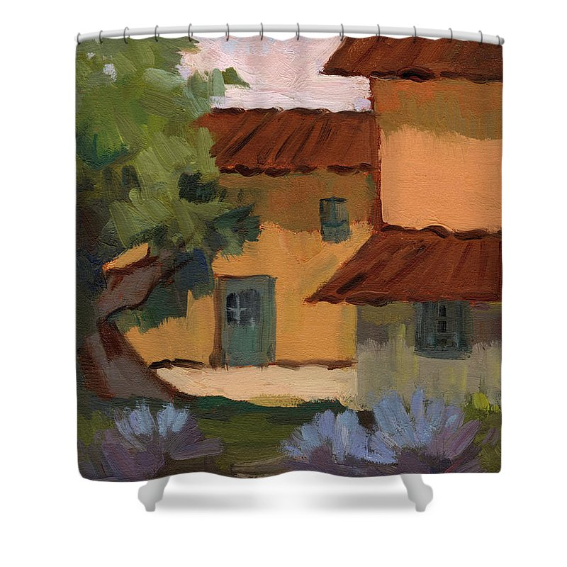 Jacques Shower Curtain featuring the painting Jacques Farm In Provence by Diane McClary
