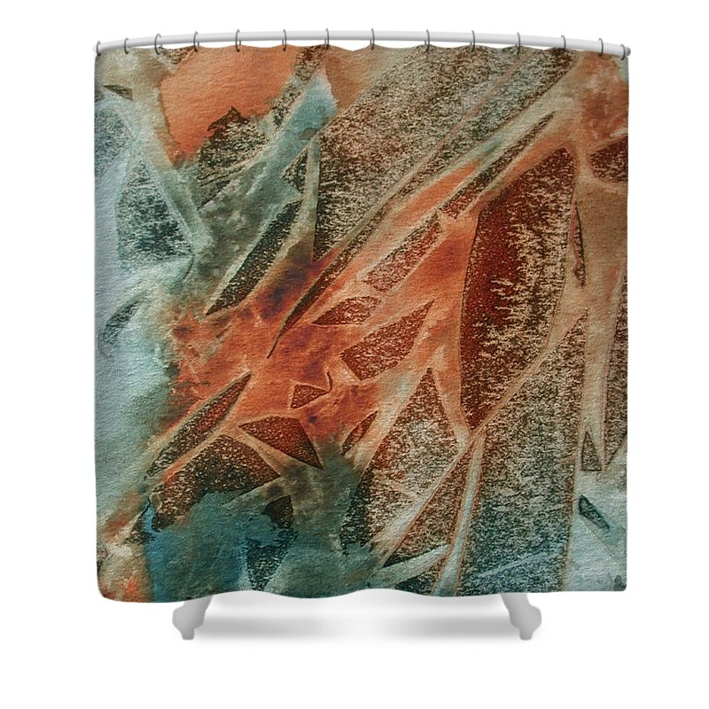Abstract Shower Curtain featuring the painting Jagged Edges by Mary Benke