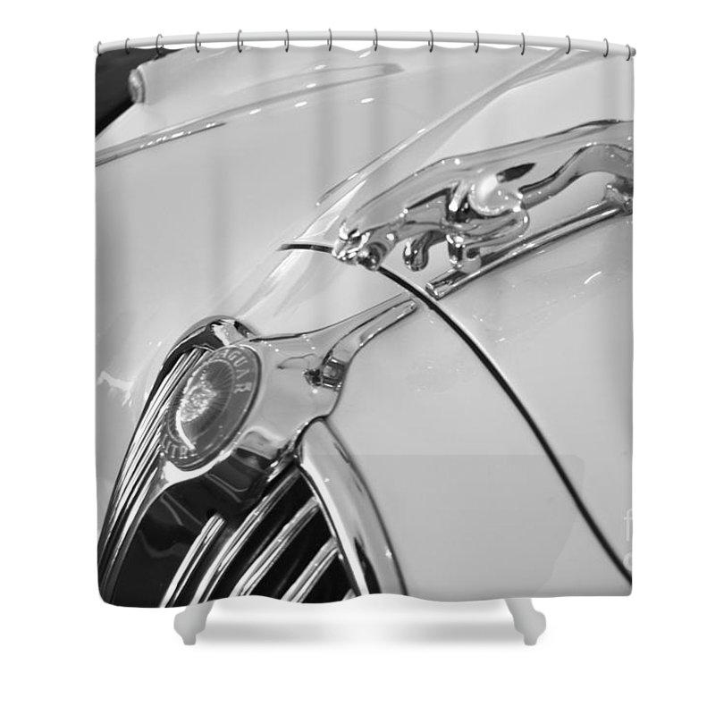 Jaguar Shower Curtain featuring the photograph Jaguar Hood Ornament In Black And White by Pamela Walrath