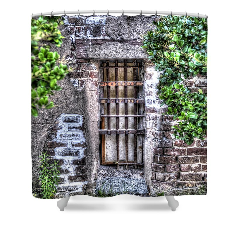 Old Shower Curtain featuring the photograph Jail Room Window by Dale Powell