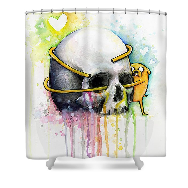 Adventure Time Shower Curtain Featuring The Painting Jake Dog Hugging Skull Art By