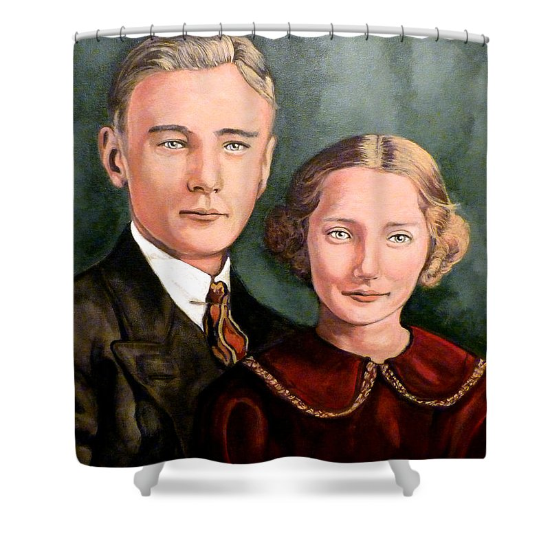 James Evan Roderick Shower Curtain featuring the painting James And Ina K by Tom Roderick