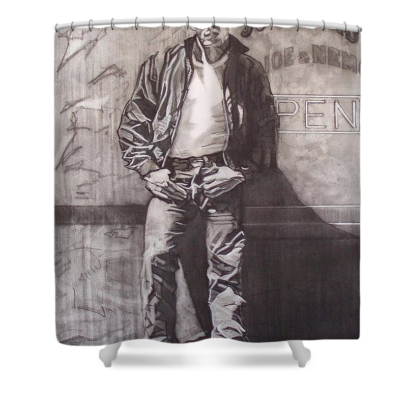Charcoal; Icon;americana;cool;window;sidewalk;street;rock And Roll;jeans;t-shirt;diner;movie Star Shower Curtain featuring the drawing James Dean by Sean Connolly