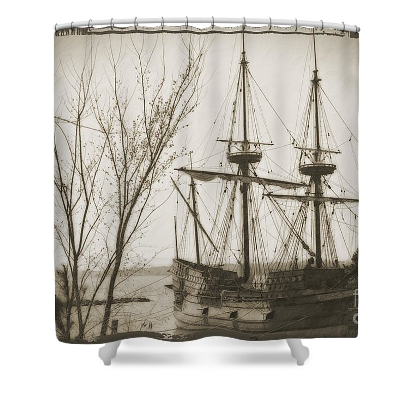 Scenic Shower Curtain featuring the photograph Jamestown 1607 by Bob Hislop