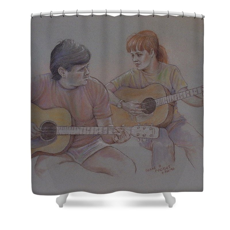 Music Shower Curtain featuring the pastel Jamin by Duane R Probus