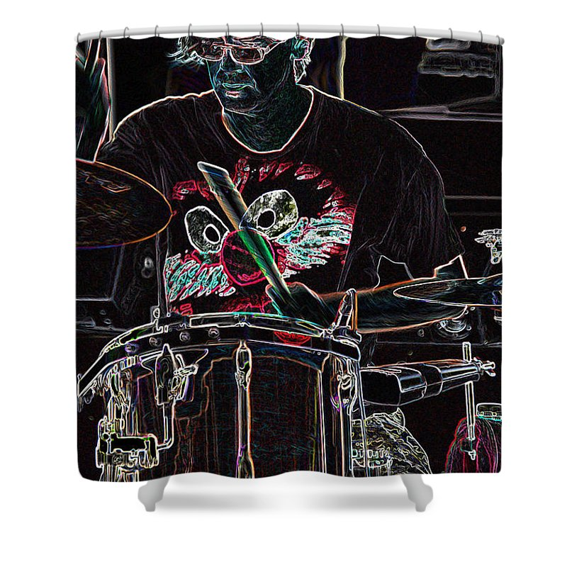 First Star Art Shower Curtain featuring the mixed media Jammer By Jrr by First Star Art
