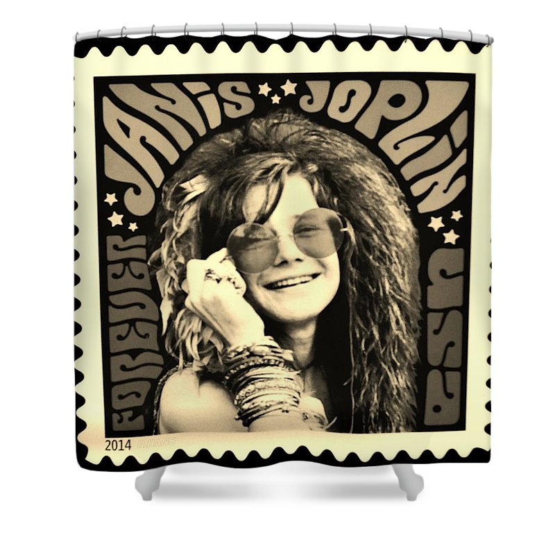 Janis Shower Curtain featuring the photograph Janis Stamp In A Sepia Vibe by Rob Hans