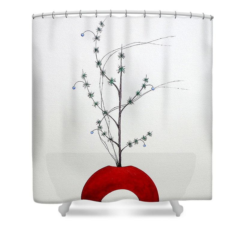 Ikebana Shower Curtain Featuring The Painting Japanese Shoka Style By Gordon Lavender
