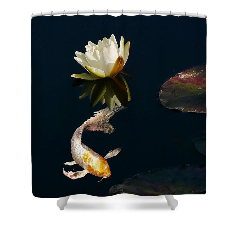 Koi Shower Curtain featuring the photograph Japanese Koi Fish And Water Lily Flower by Jennie Marie Schell