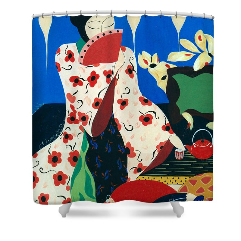 #japanese Shower Curtain featuring the painting Japanese Tea by Jacquelinemari