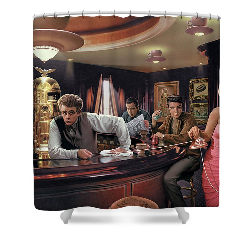 Marilyn Monroe Shower Curtain featuring the painting Java Dreams by Chris Consani