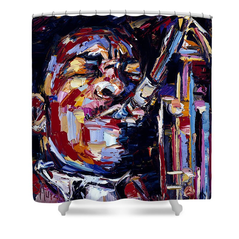 John Coltrane Shower Curtain featuring the painting Jazz Face Series John Coltrane by Debra Hurd