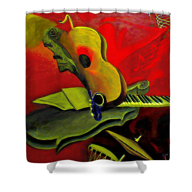 Abstract Shower Curtain featuring the painting Jazz Infusion by Fli Art