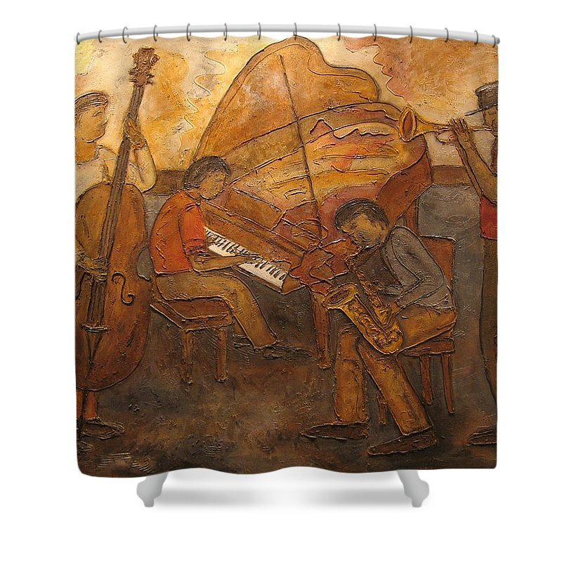 Impressionist Shower Curtain featuring the painting Jazz Quartet by Anita Burgermeister