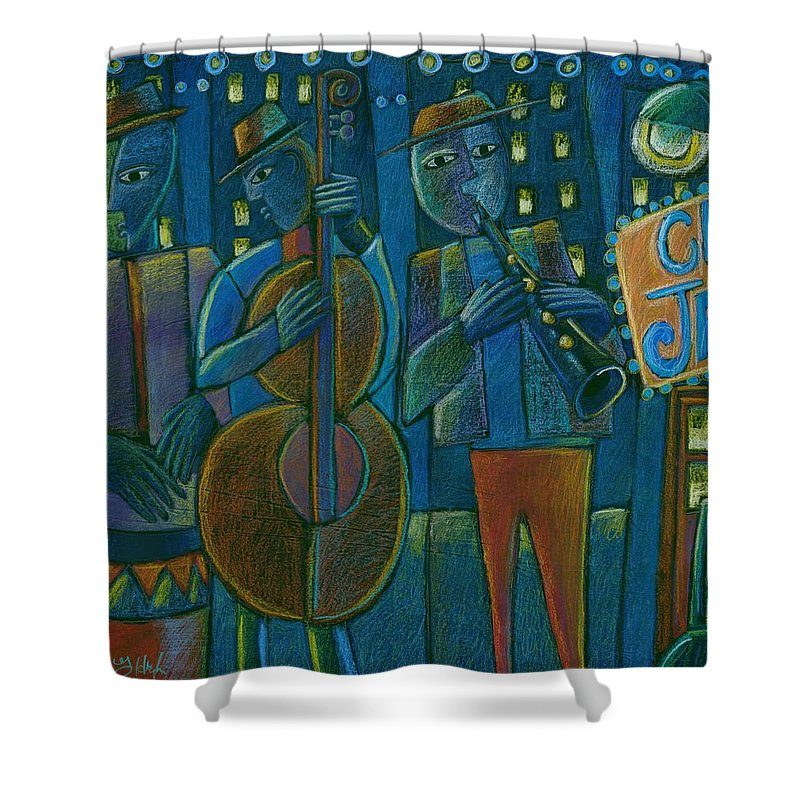 Blue Jazz Shower Curtain featuring the mixed media Jazz Time At Club Jazz by Gerry High