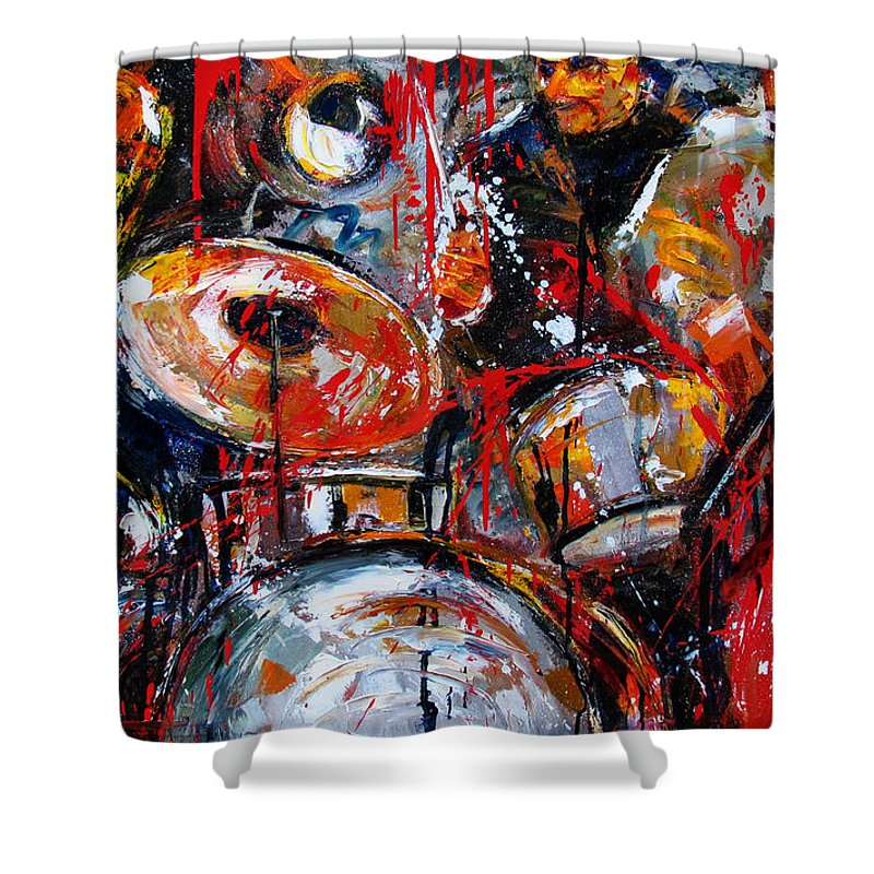Abstract Jazz Art Shower Curtain featuring the painting Jazzy Jazz by Debra Hurd