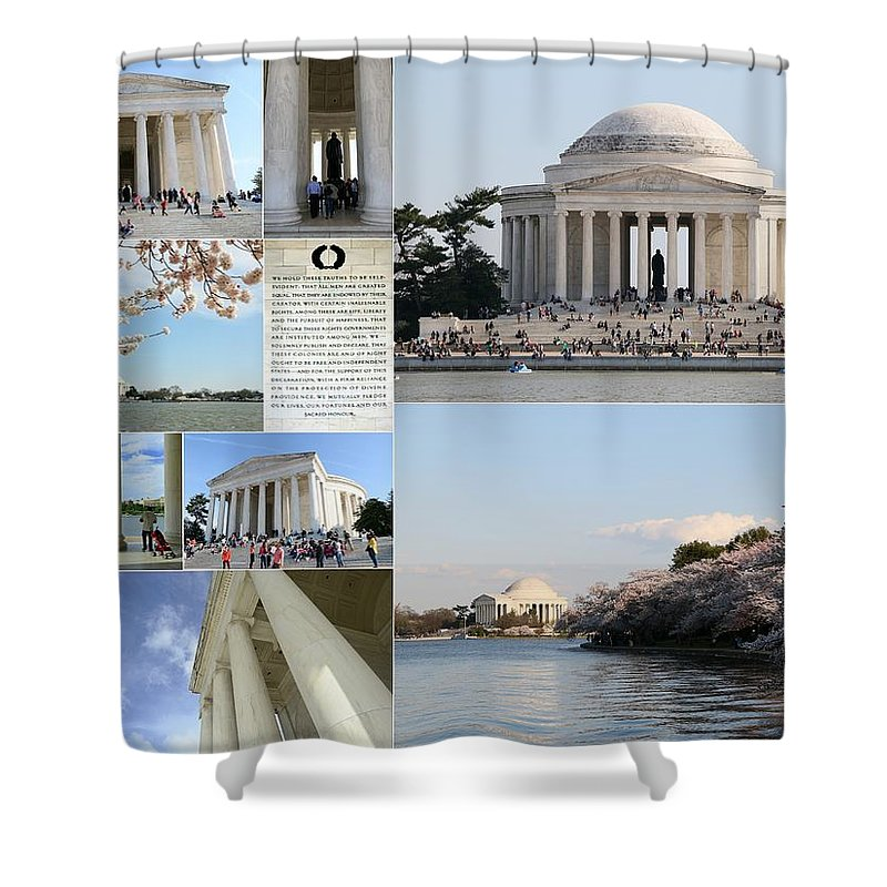 Jefferson Shower Curtain featuring the photograph Jefferson Memorial Collage by Allen Beatty