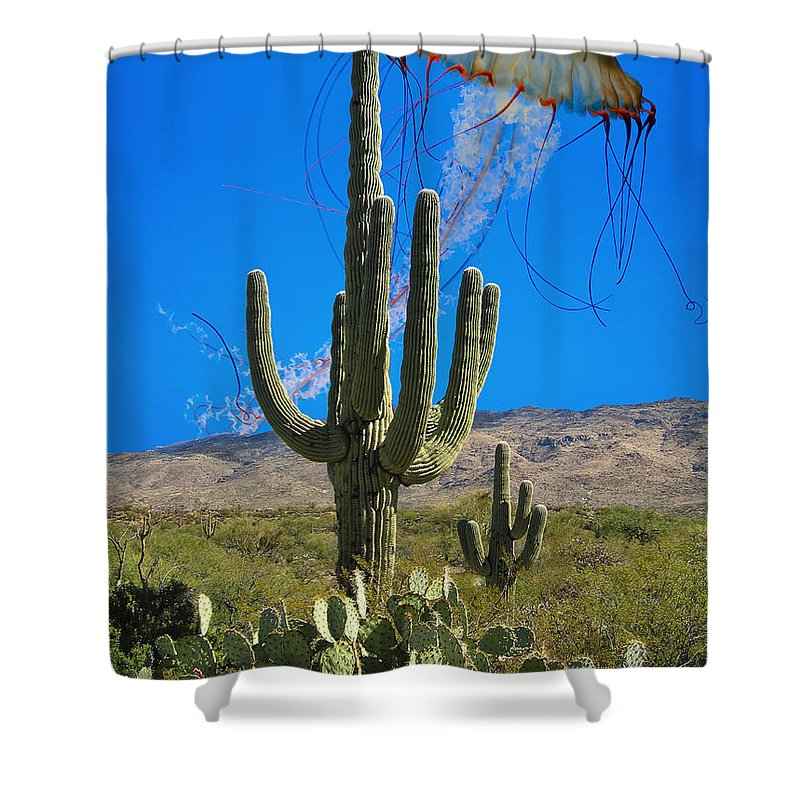 Surreal Shower Curtain featuring the photograph Jellyfish Rising Palm Springs by William Dey