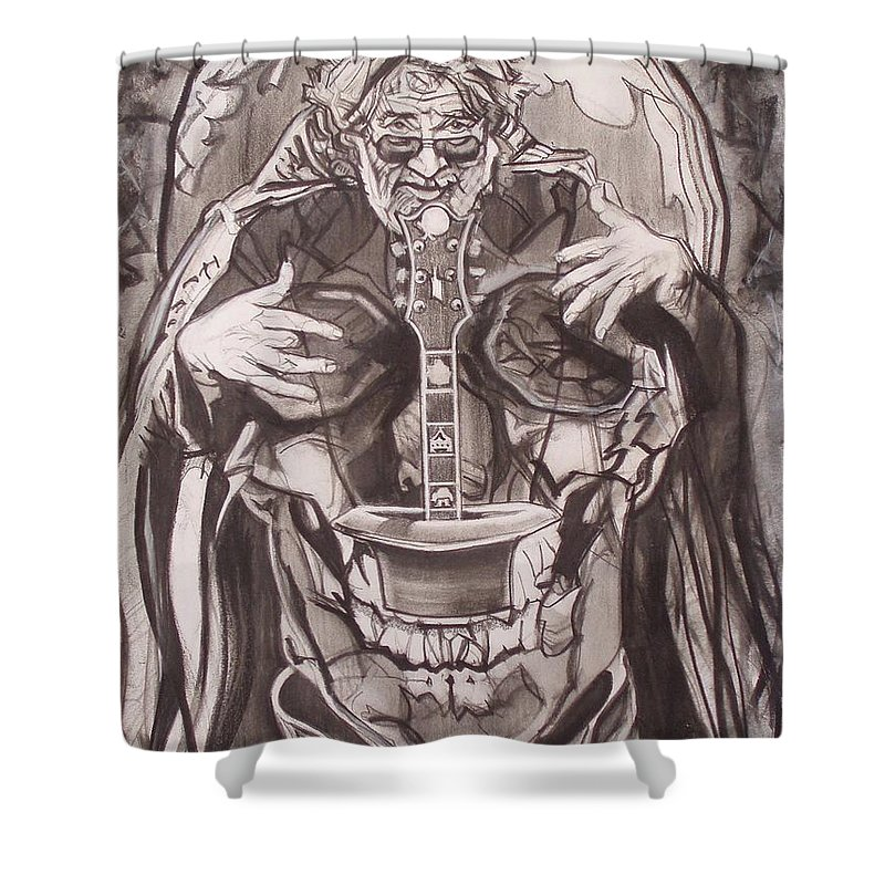 Charcoal; Skull;guitar;music;magic;mystic;wizard;cape;hat;shades;grateful Dead;deadheads Shower Curtain featuring the drawing Jerry Garcia . . Magic Is What We Do - Music Is How We Do It by Sean Connolly